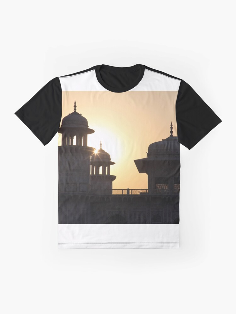 Alternate view of A Sunset Silhouette at the Itmad-ud-Daulah Mausoleum, Agra. Graphic T-Shirt
