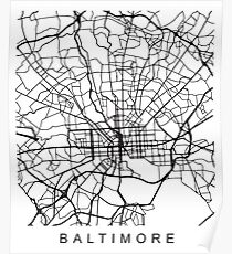 Baltimore MD Minimalist City Street Map dunkles Design Poster