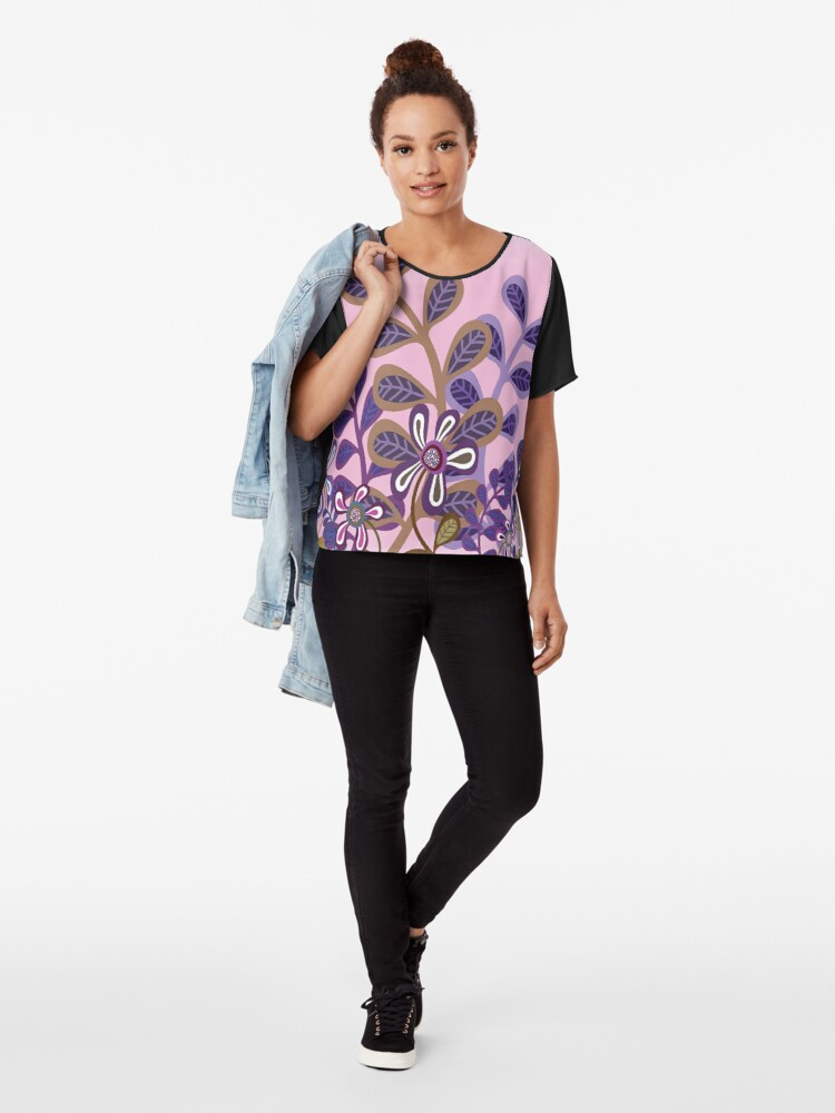 Alternate view of PLUM FOLIAGE Chiffon Top