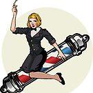 Woman riding a barber pole by KatSurth