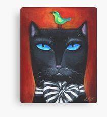 """Bow Cat"" - Original Folk Art Painting  Canvas Print"