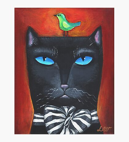 """Bow Cat"" - Original Folk Art Painting  Photographic Print"