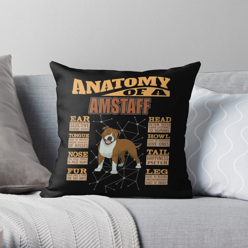 Anatomy Of A American Staffordshire Terrier - Funny American Staffordshire Terrier Design Throw Pillow