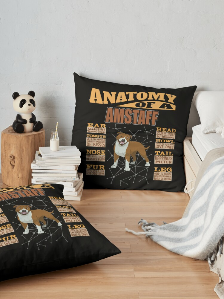 Alternate view of  Anatomy Of A American Staffordshire Terrier - Funny American Staffordshire Terrier Design Floor Pillow