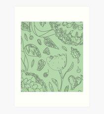Illustrated Floral Pattern Art Print