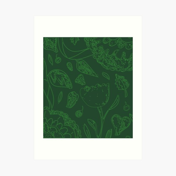 Green Illustrated Floral Pattern Art Print