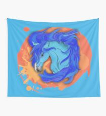 Wild Horse Blue Wall Tapestry