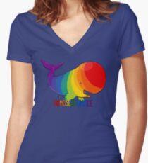 Homosexuwhale - mit Text Shirt mit V-Ausschnitt
