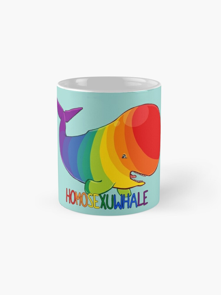 Alternate view of Homosexuwhale - with text Mugs