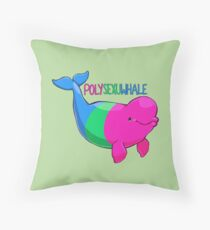Polysexuwhale - with text Throw Pillow