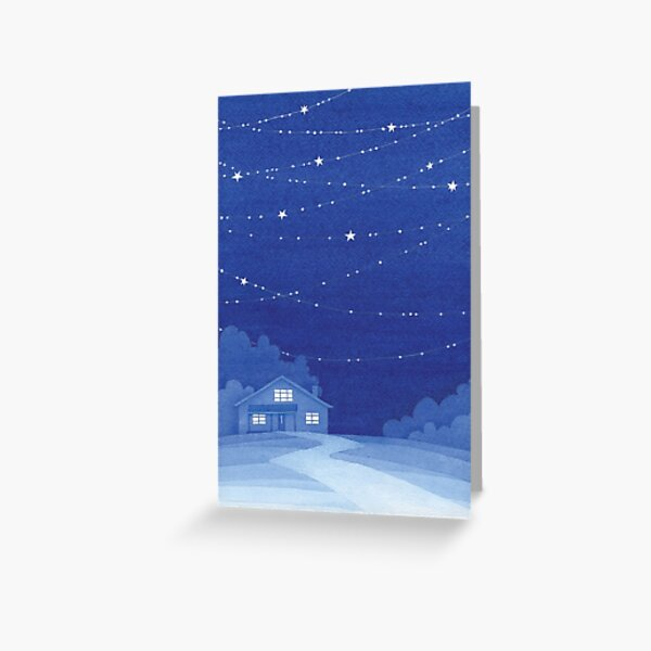 house with stars, blue watecolor Greeting Card