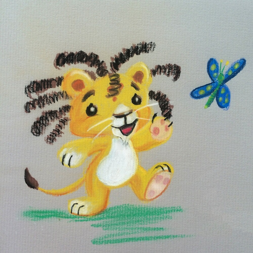 Lion Cub catches Butterfly by Stayf