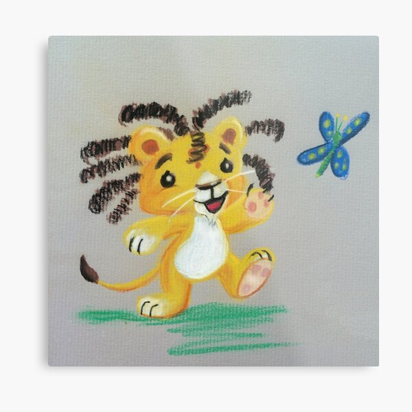 Lion Cub catches Butterfly Metal Print