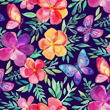 Sommerblüten & Schmetterlinge auf dunklem Purpur von micklyn