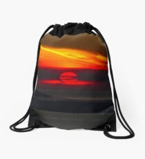 Sunset Over the Pacific Coast Drawstring Bag