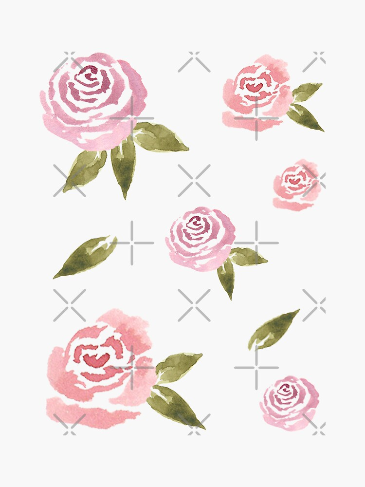 Little Pink Roses ~ Sticker Set by ApricotBlossom