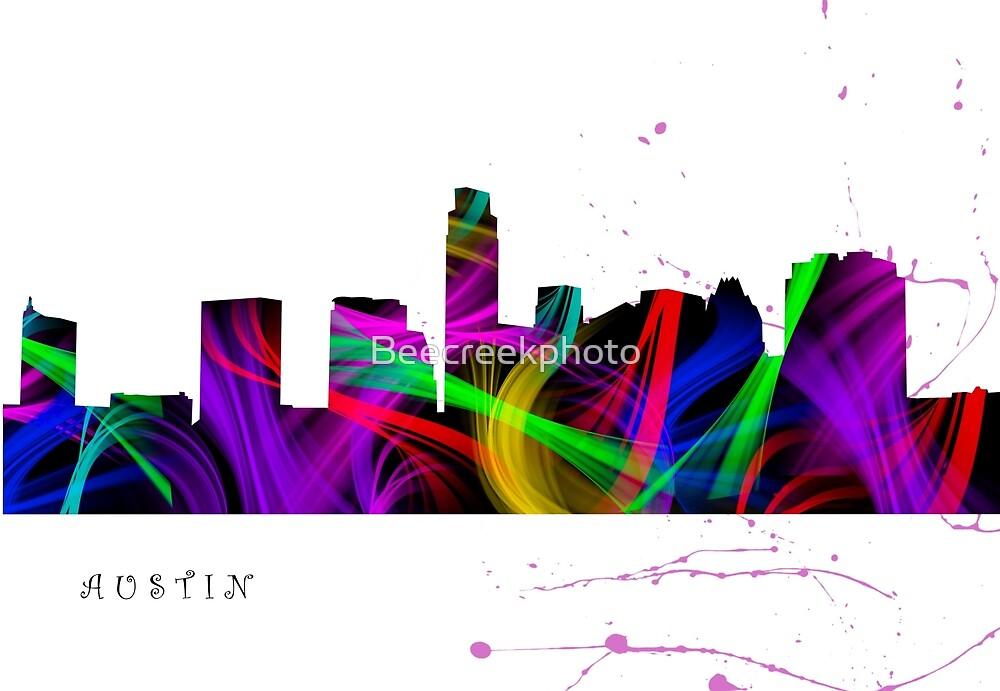 Austin Skyline Watercolor Art by Beecreekphoto