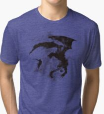 Dragonfight-cooltexture B&W Tri-blend T-Shirt