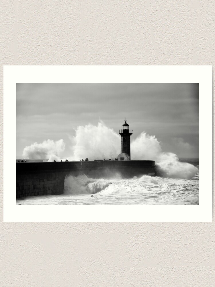 Alternate view of Lighthouse in stormy ocean Art Print