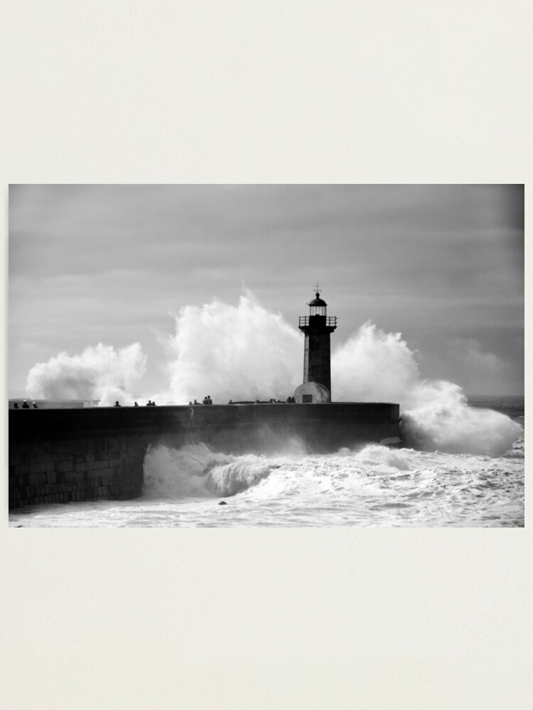 Alternate view of Lighthouse in stormy ocean Photographic Print