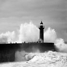 Lighthouse in stormy ocean by gabriellaksz