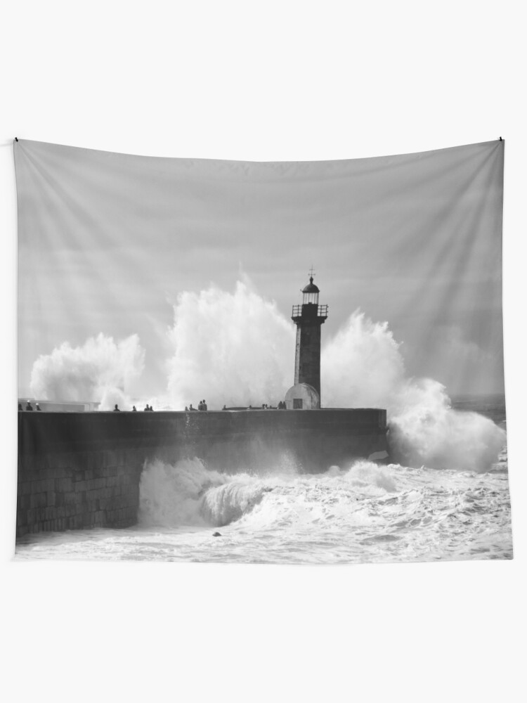 Alternate view of Lighthouse in stormy ocean Tapestry