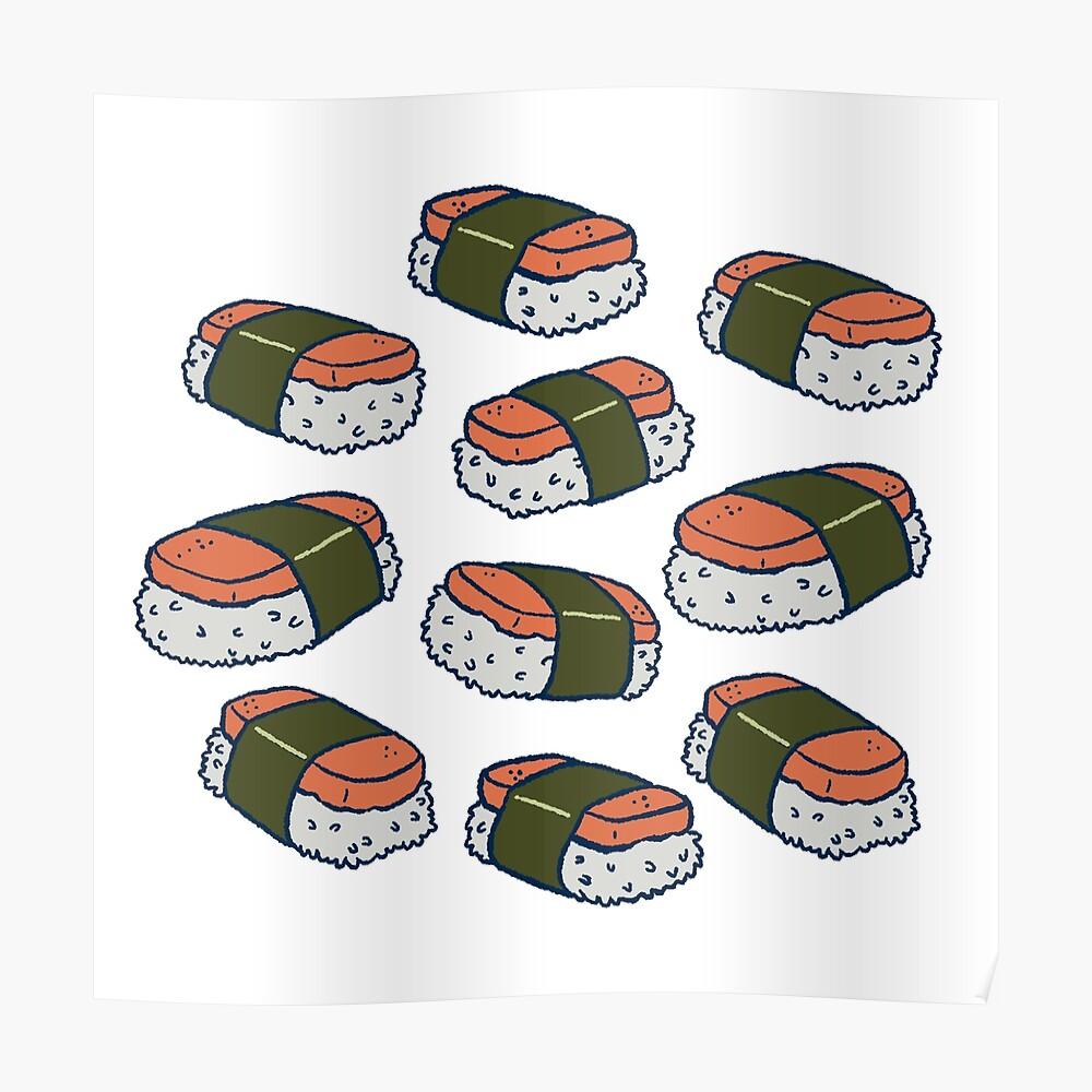 Spam Musubi Sushi Pattern Poster