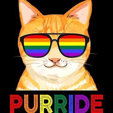 Purride LGBT Gay Pride Cat Lover LGBTQ Rainbow Sunglasses by JapaneseInkArt