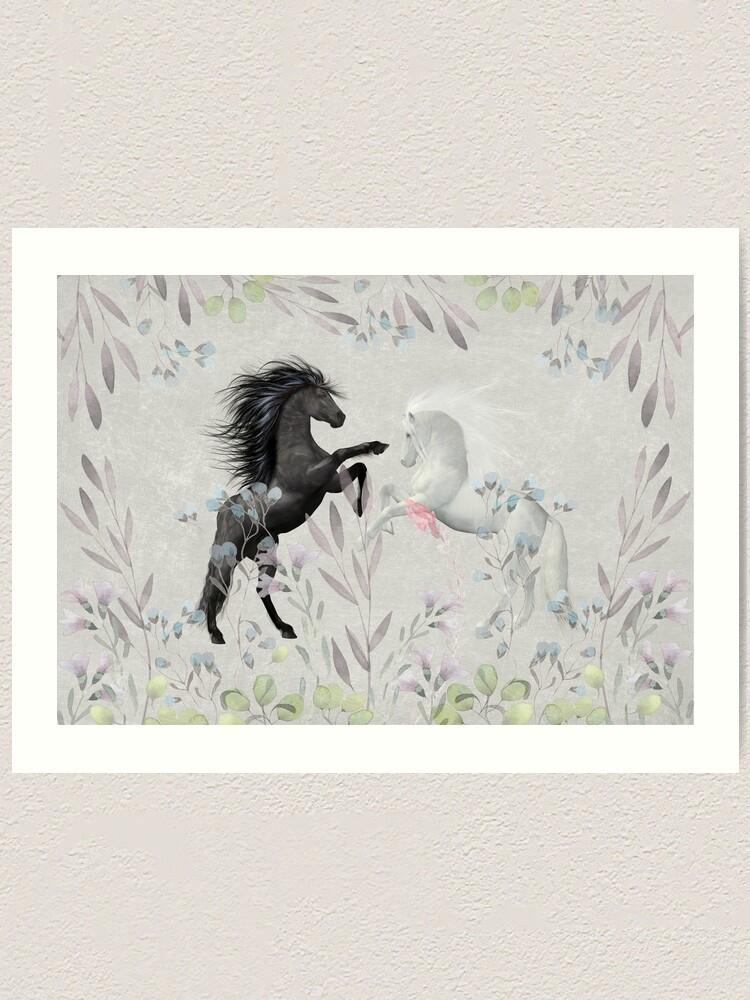 Alternate view of Floral Fantasy Horses Art Print