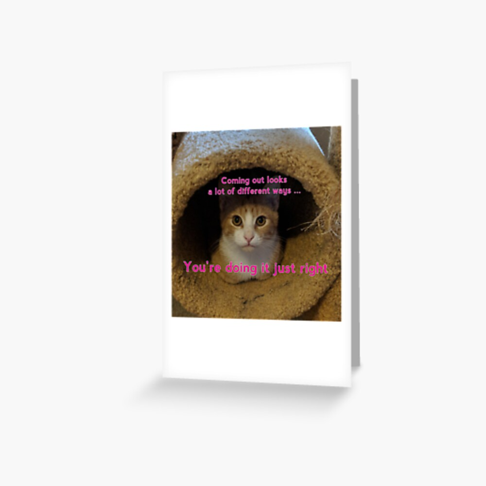 Coming Out Kitty says ... (fuschia text) Greeting Card