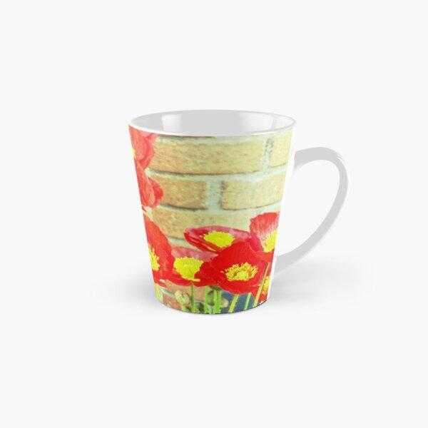 Poppyfied - Bright Yellow and Red Poppies - Flower Art Photo Tall Mug