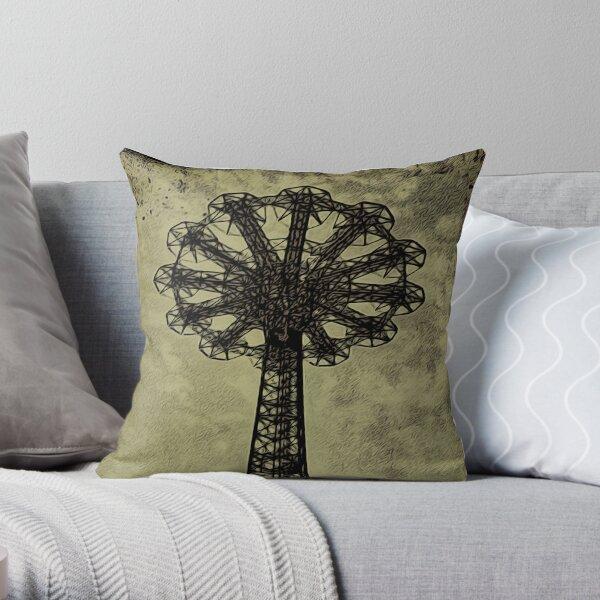 Coney Island Lovers - Bare Bones Parachute Art Photo - Brooklyn Gift Throw Pillow