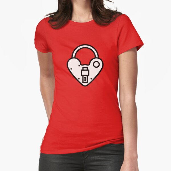 Loveheart Lock - love heart padlock Fitted T-Shirt