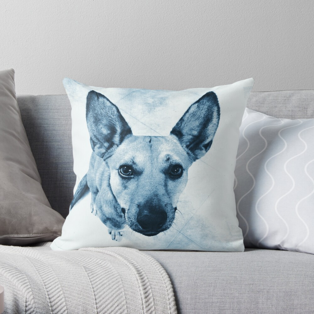 Carolina Blue Pup Throw Pillow