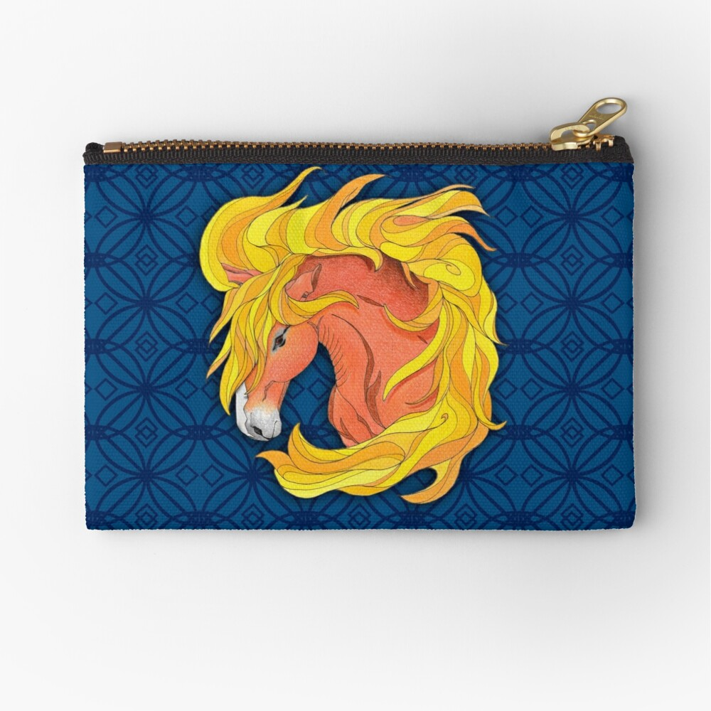 Horse Totem with Pattern Zipper Pouch