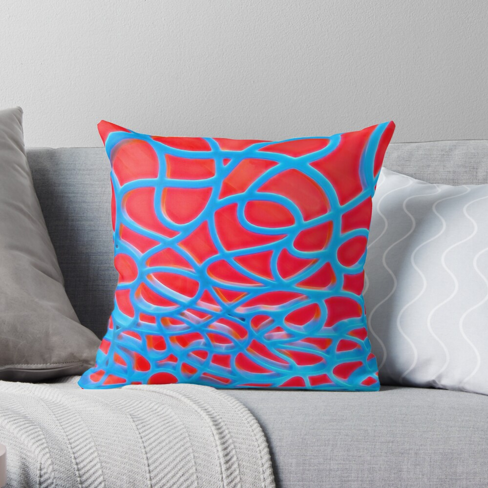 Red and Turquoise Maze - Abstract Art Photography Throw Pillow