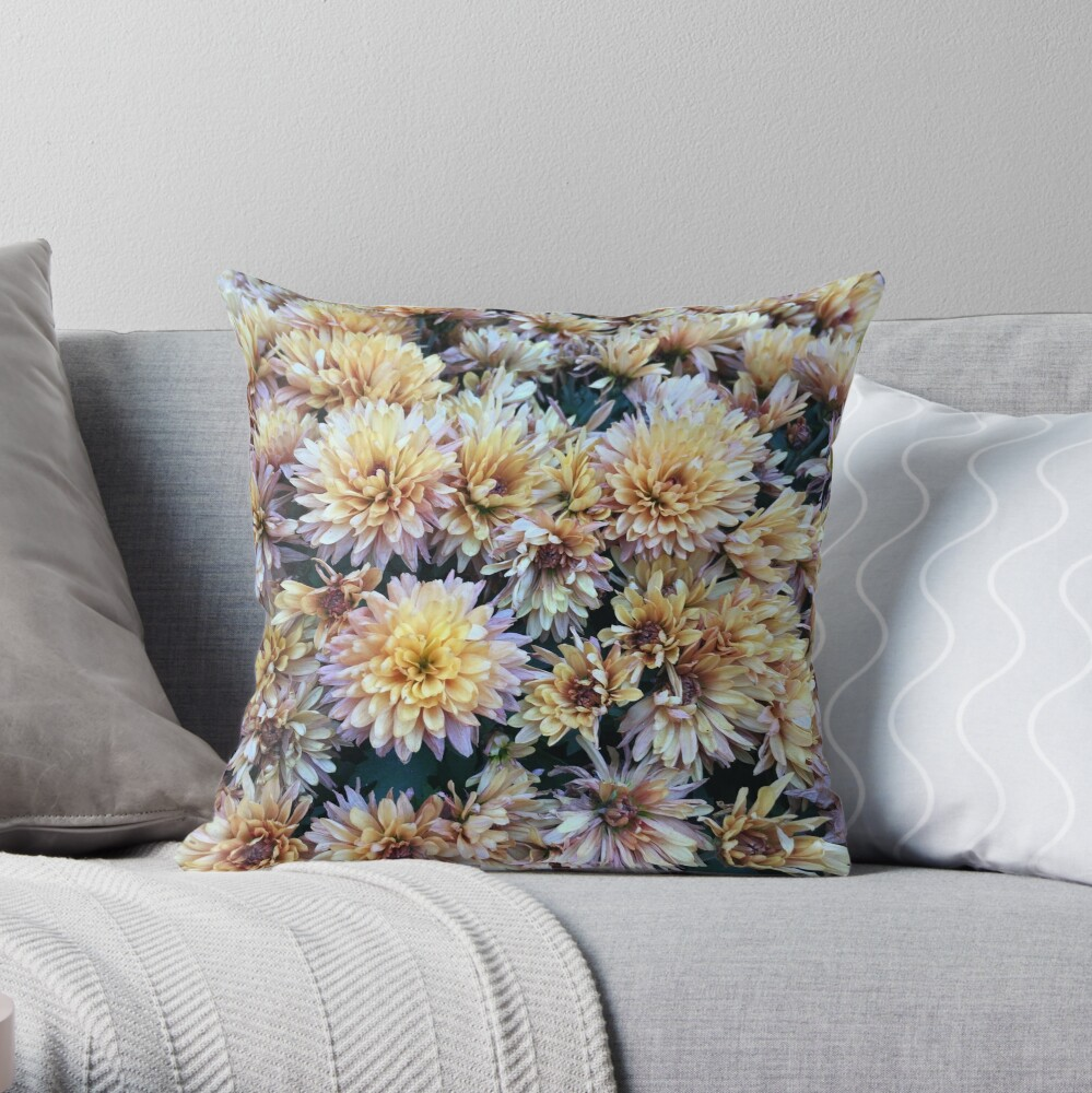 Gift for Gardener - Mumsified - Light Yellow and Pink Mums Throw Pillow