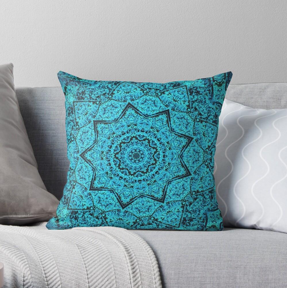 Divine Turquoise Mandala Throw Pillow