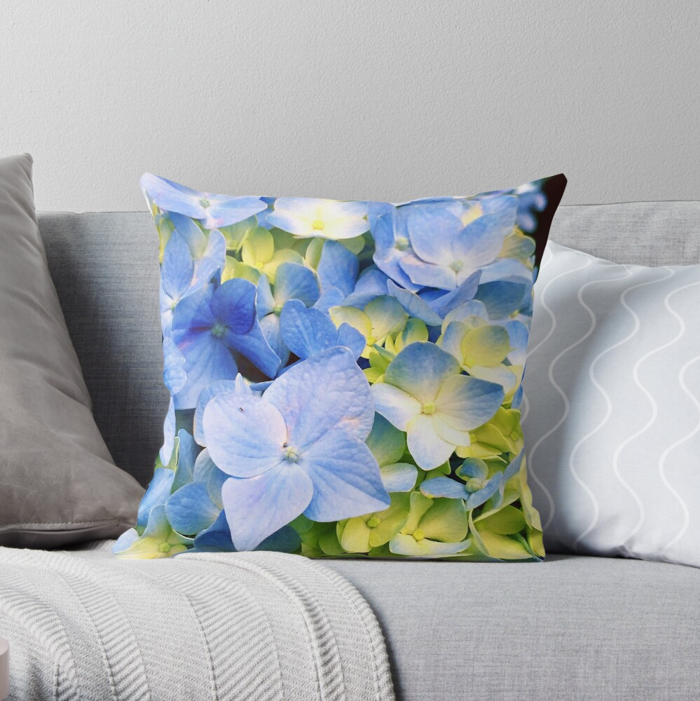Blue Hydrangeas Throw Pillow