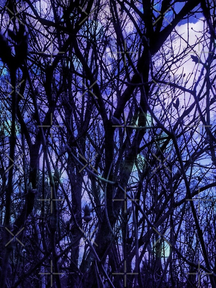 Dark Purple Forest - Purple Blue and Black Bare Tree Landscape by OneDayArt