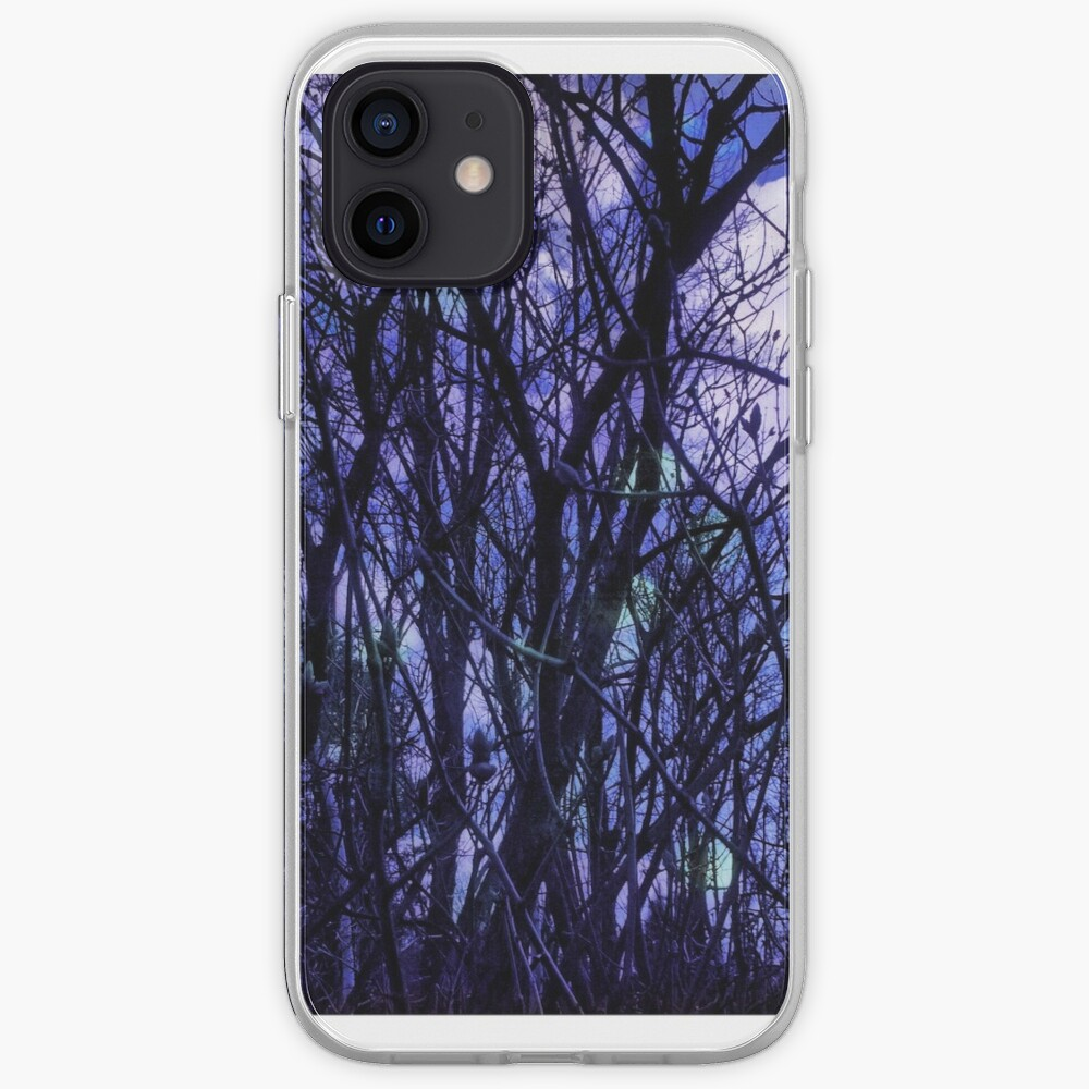 Dark Purple Forest - Purple Blue and Black Bare Tree Landscape iPhone Case & Cover