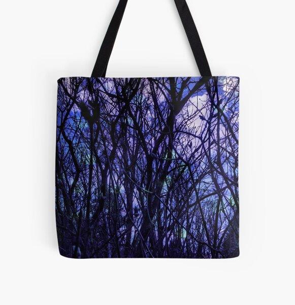 Dark Purple Forest - Purple Blue and Black Bare Tree Landscape All Over Print Tote Bag