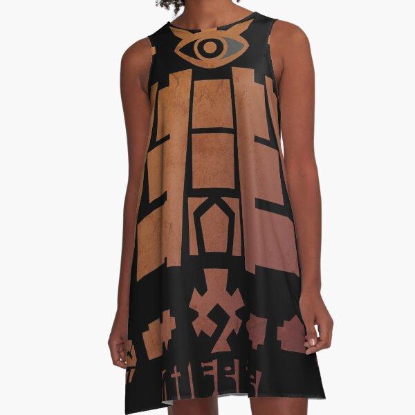 Sand Temple Stamp A-Line Dress