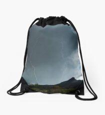 Lightning Around Ptarmigan Mountain Drawstring Bag