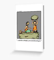 Lustiger medizinischer Höhlenbewohner-Anästhesiologe-Cartoon-Kunst Grußkarte