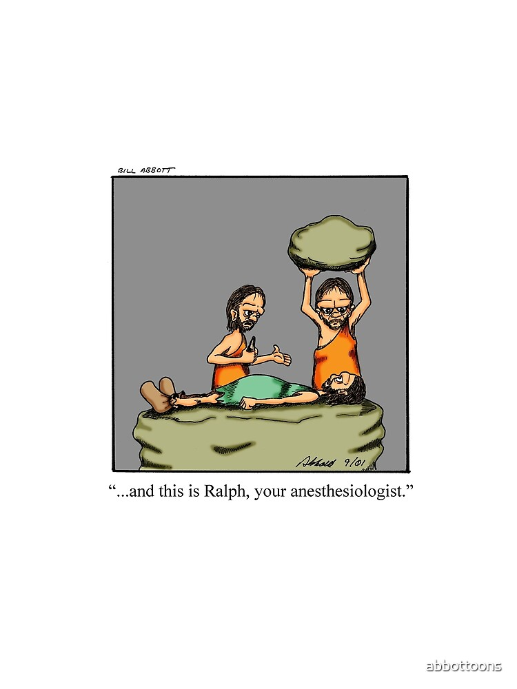 Lustiger medizinischer Höhlenbewohner-Anästhesiologe-Cartoon-Kunst von abbottoons