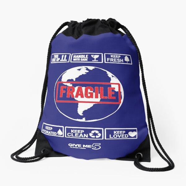 Fragile planet (white) Drawstring Bag