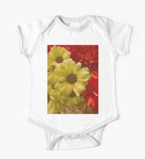 Floral Red & Gold Short Sleeve Baby One-Piece