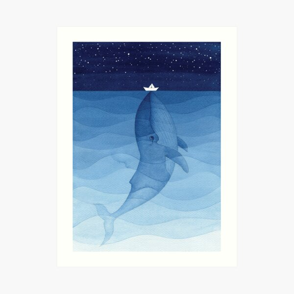 Blue whale, sea animal Art Print