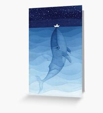 Blue whale, sea animal Greeting Card